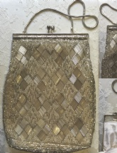 Vintage Beaded Silver Evening Bag, 1960s